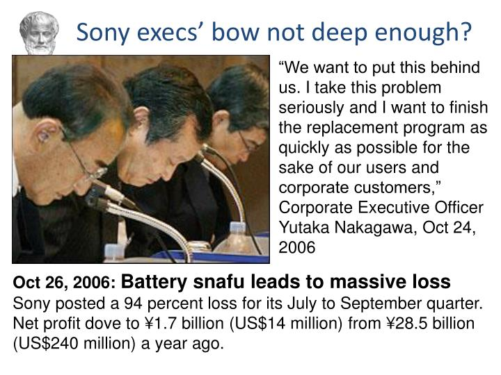 Sony execs' bow not deep enough?