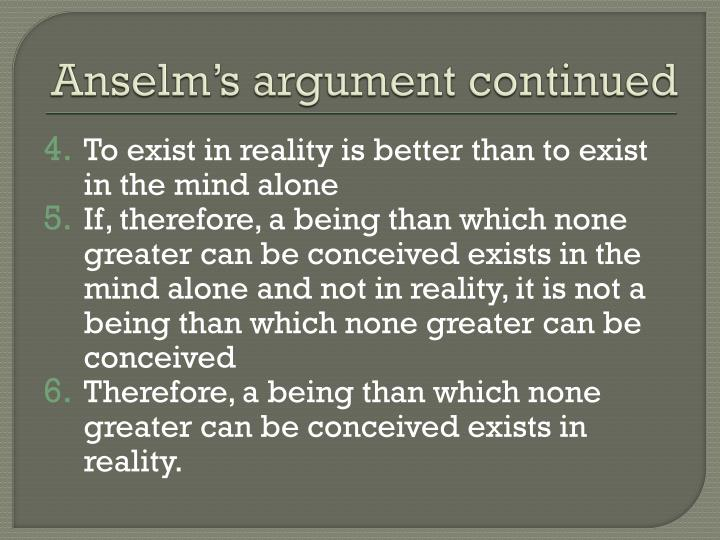 Anselm's argument continued