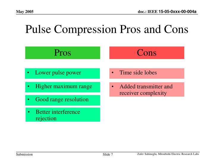 Pulse Compression Pros and Cons