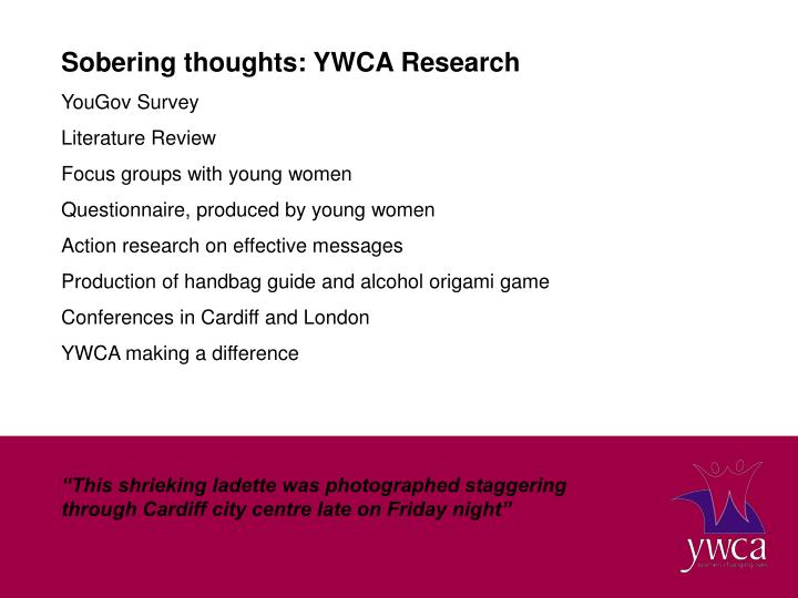 Sobering thoughts: YWCA Research