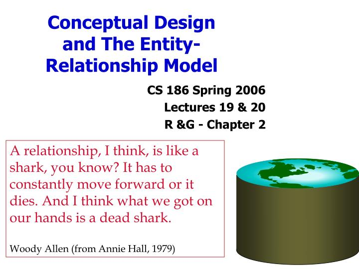 conceptual design and the entity relationship model