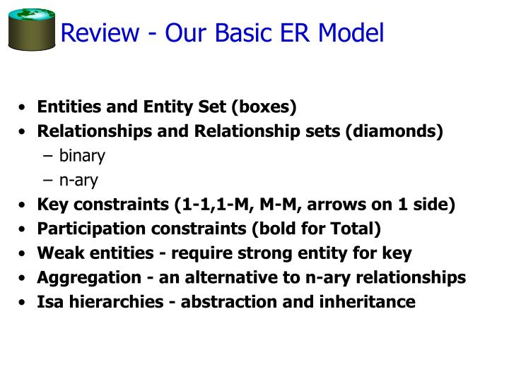 Review - Our Basic ER Model