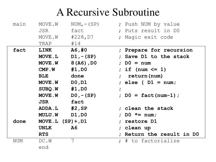 A Recursive Subroutine