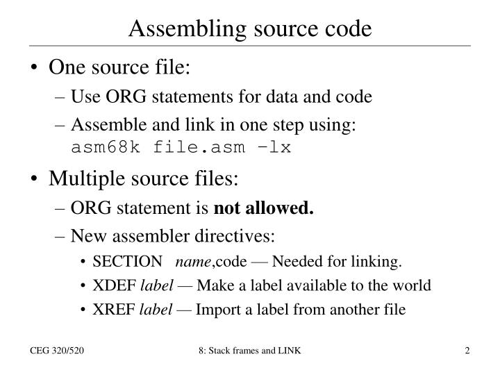 Assembling source code