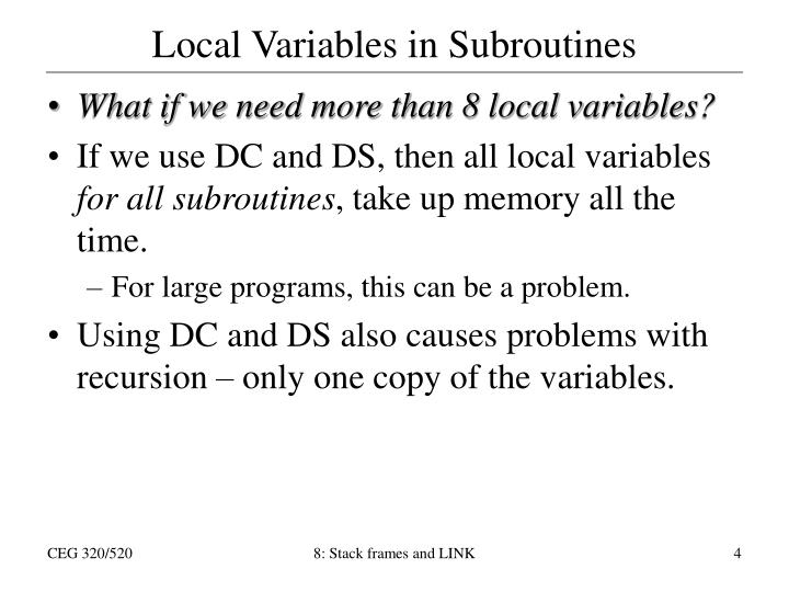 Local Variables in Subroutines