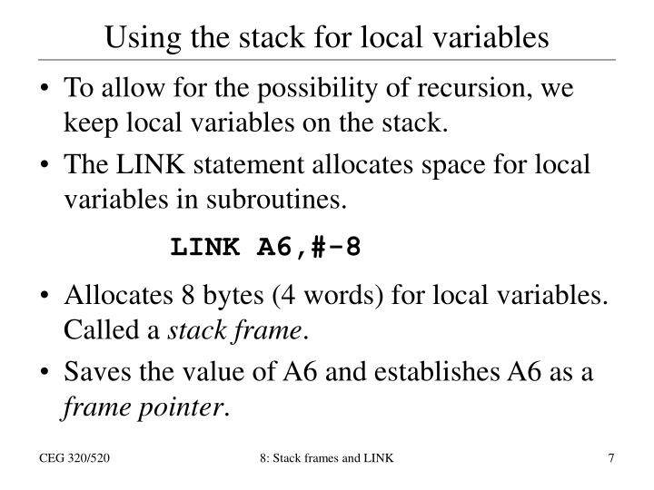 Using the stack for local variables