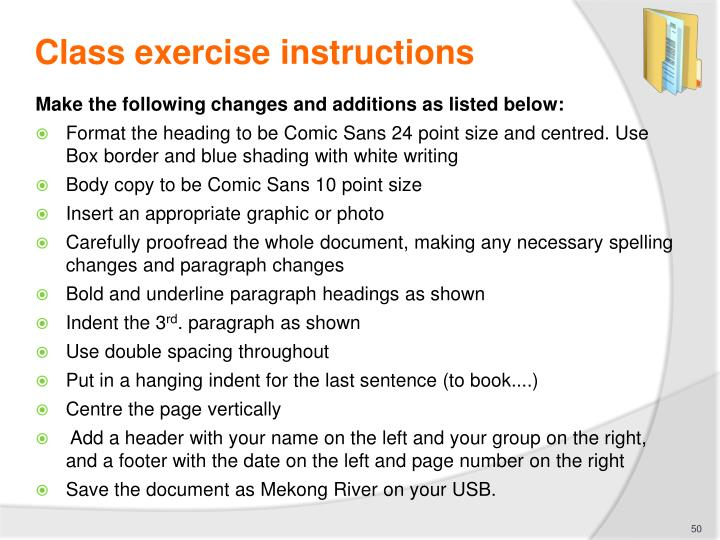 Class exercise instructions