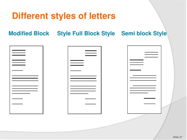 Different styles of letters