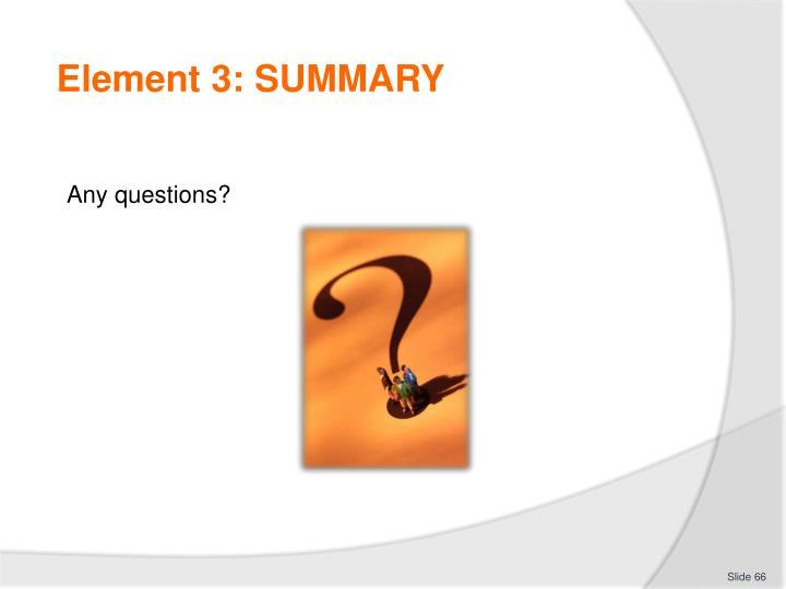 Element 3: SUMMARY