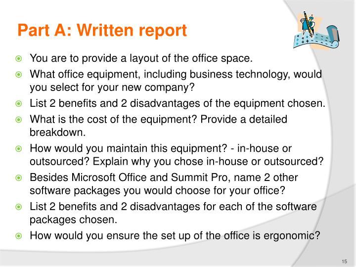 Part A: Written report