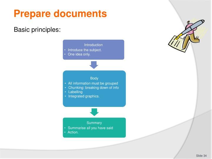 Prepare documents