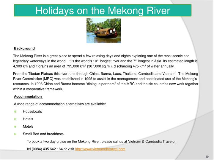 Holidays on the Mekong River