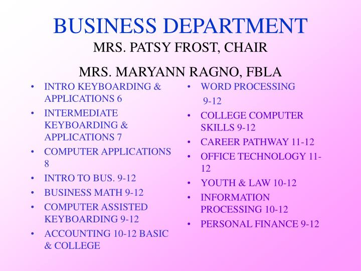 Business department mrs patsy frost chair mrs maryann ragno fbla