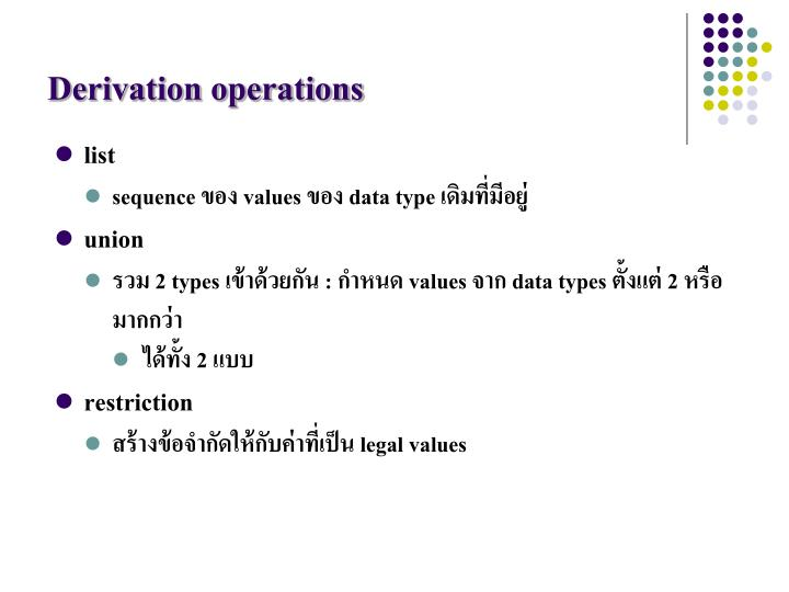 Derivation operations