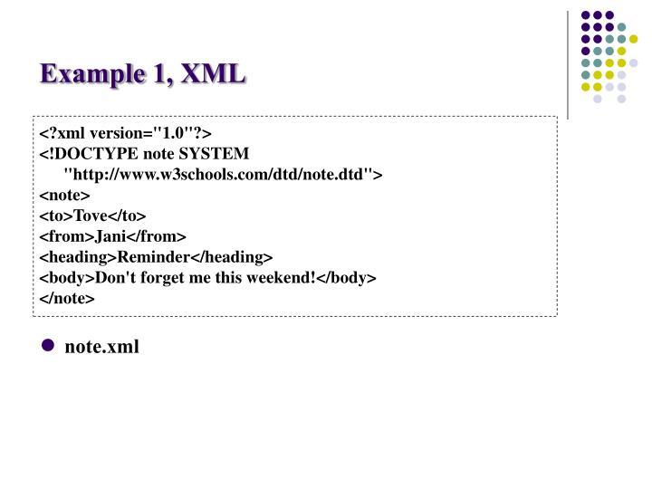 Example 1, XML