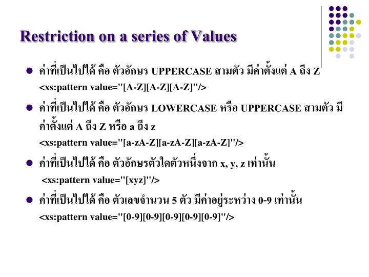 Restriction on a series of Values
