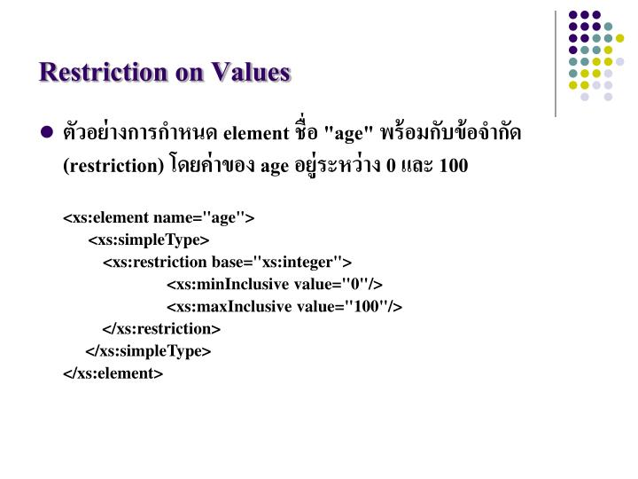 Restriction on Values