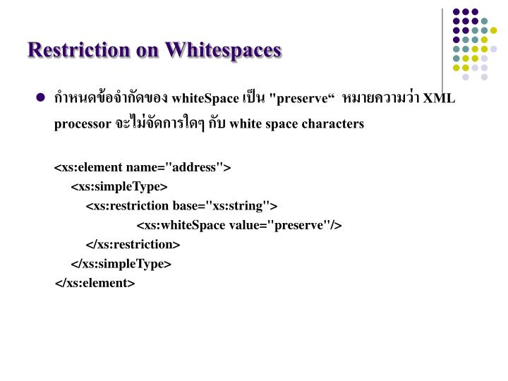Restriction on Whitespaces