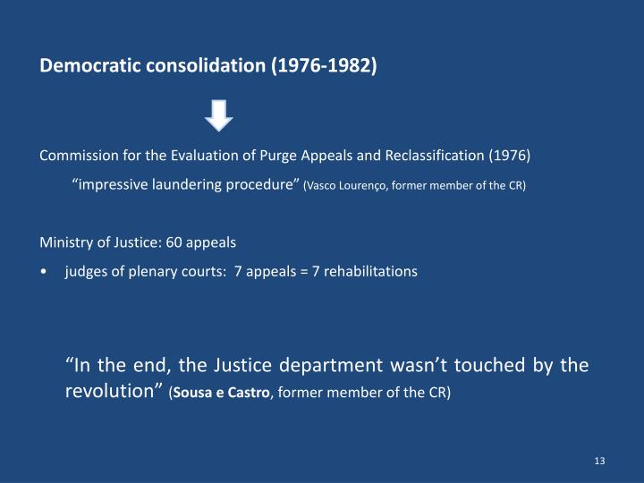 Democratic consolidation (1976-1982)