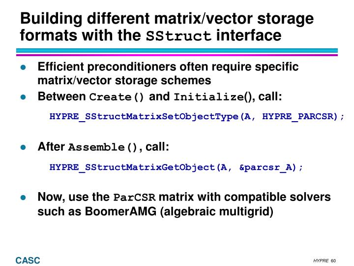 Building different matrix/vector storage formats with the