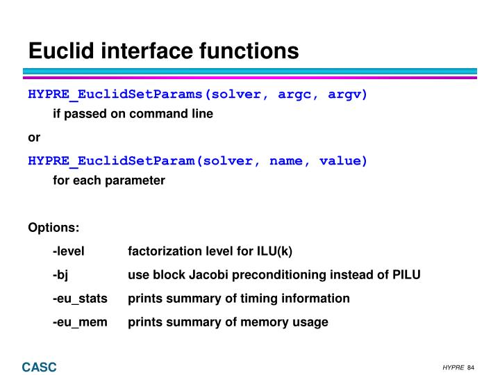 Euclid interface functions