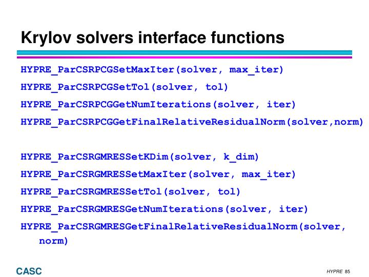 Krylov solvers interface functions