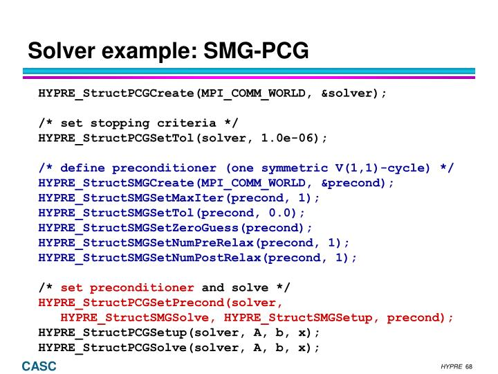Solver example: SMG-PCG