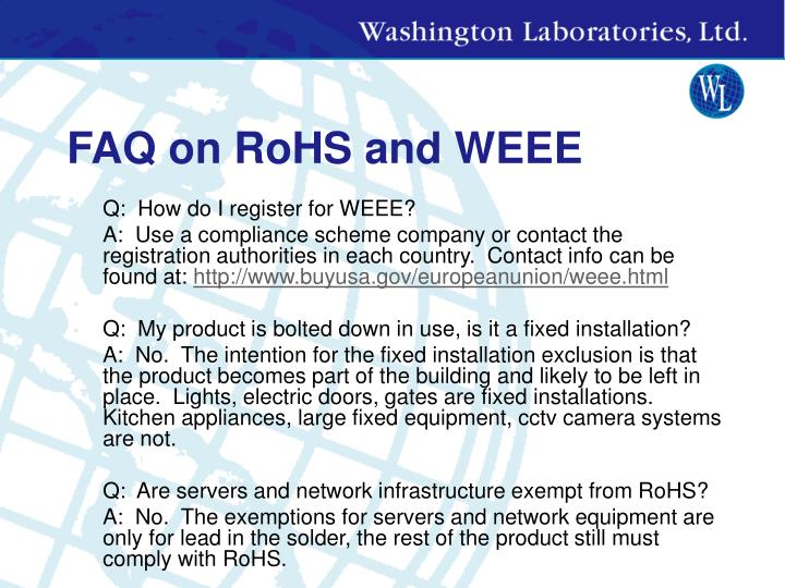 FAQ on RoHS and WEEE