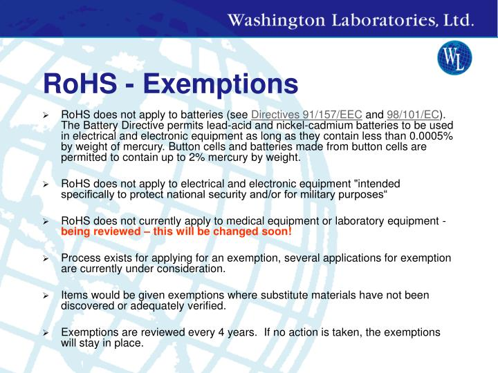 RoHS - Exemptions