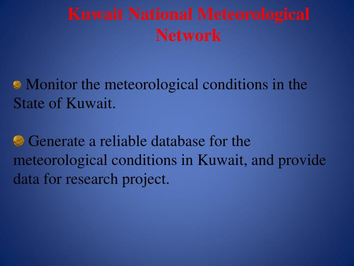 Kuwait National Meteorological Network