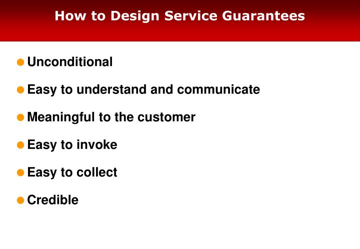 How to Design Service Guarantees