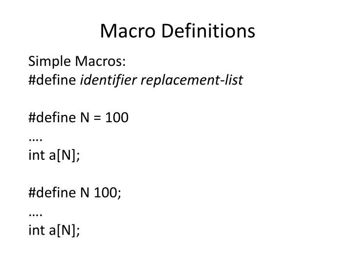 Macro Definitions
