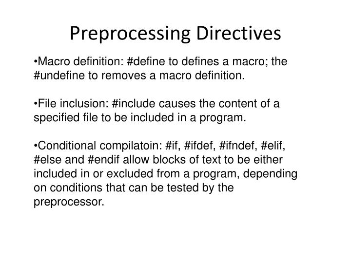 Preprocessing directives