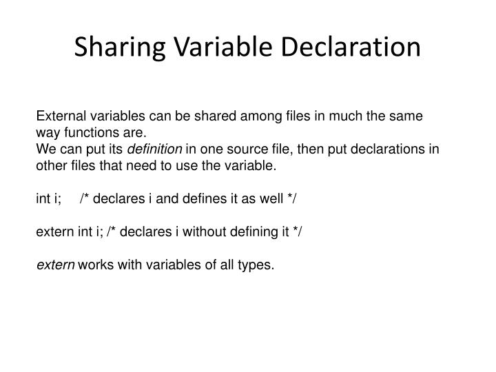 Sharing Variable Declaration