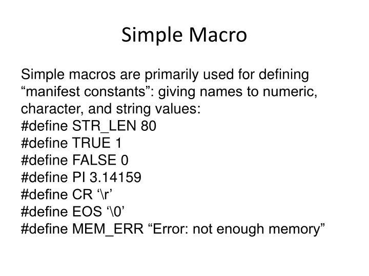 Simple Macro