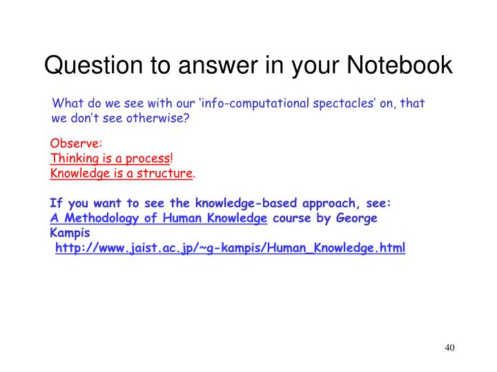 Question to answer in your Notebook