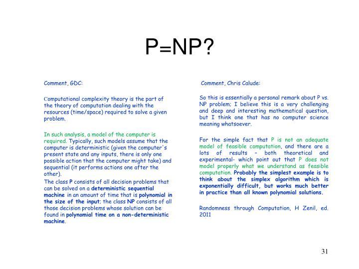 P=NP?