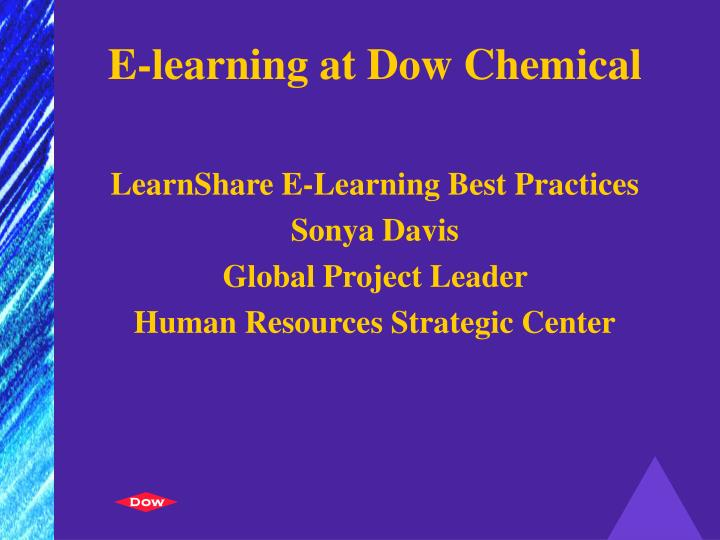 E learning at dow chemical