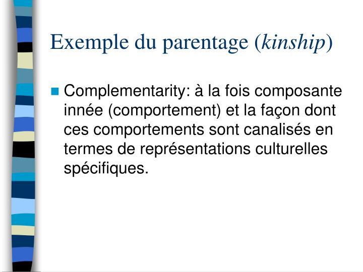 Exemple du parentage (