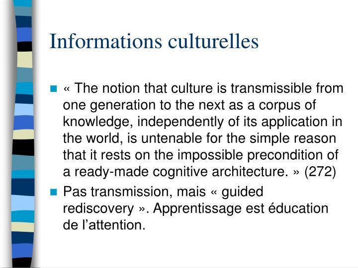 Informations culturelles