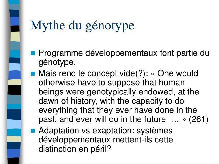Mythe du génotype