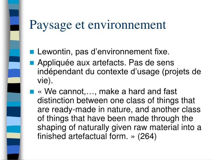 Paysage et environnement