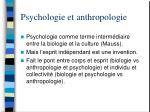 psychologie et anthropologie