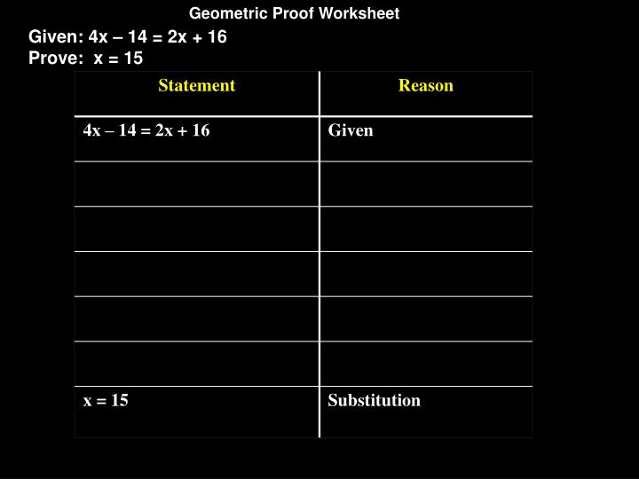 Geometric Proof Worksheet