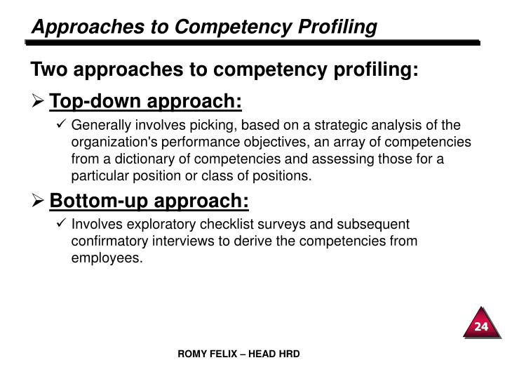 Approaches to Competency Profiling
