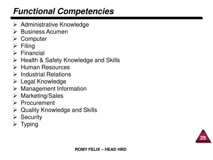 Functional Competencies