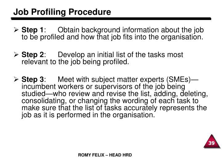 Job Profiling Procedure