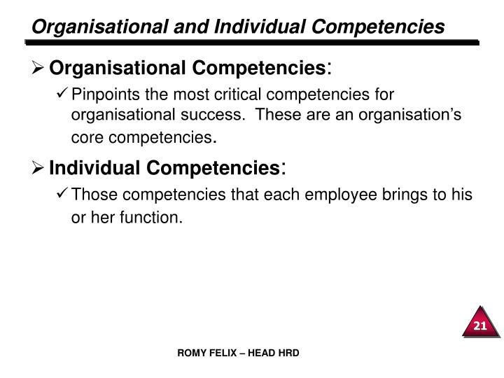 Organisational and Individual Competencies