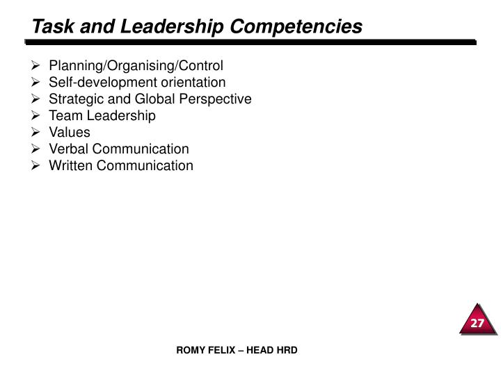 Task and Leadership Competencies