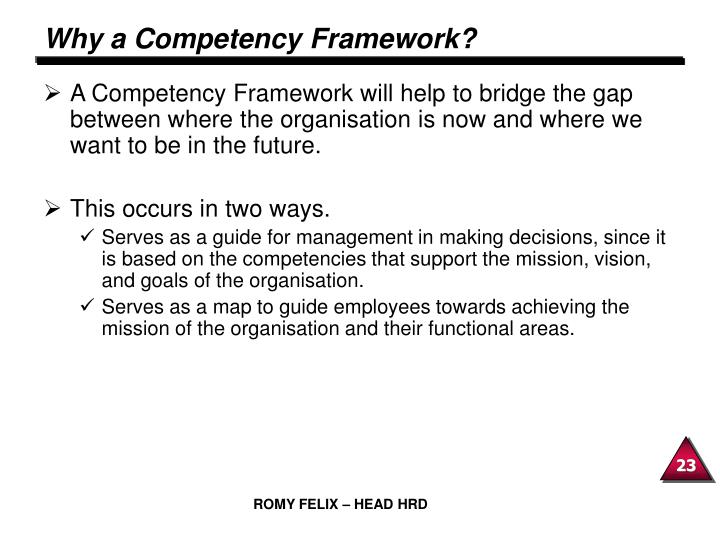 Why a Competency Framework?